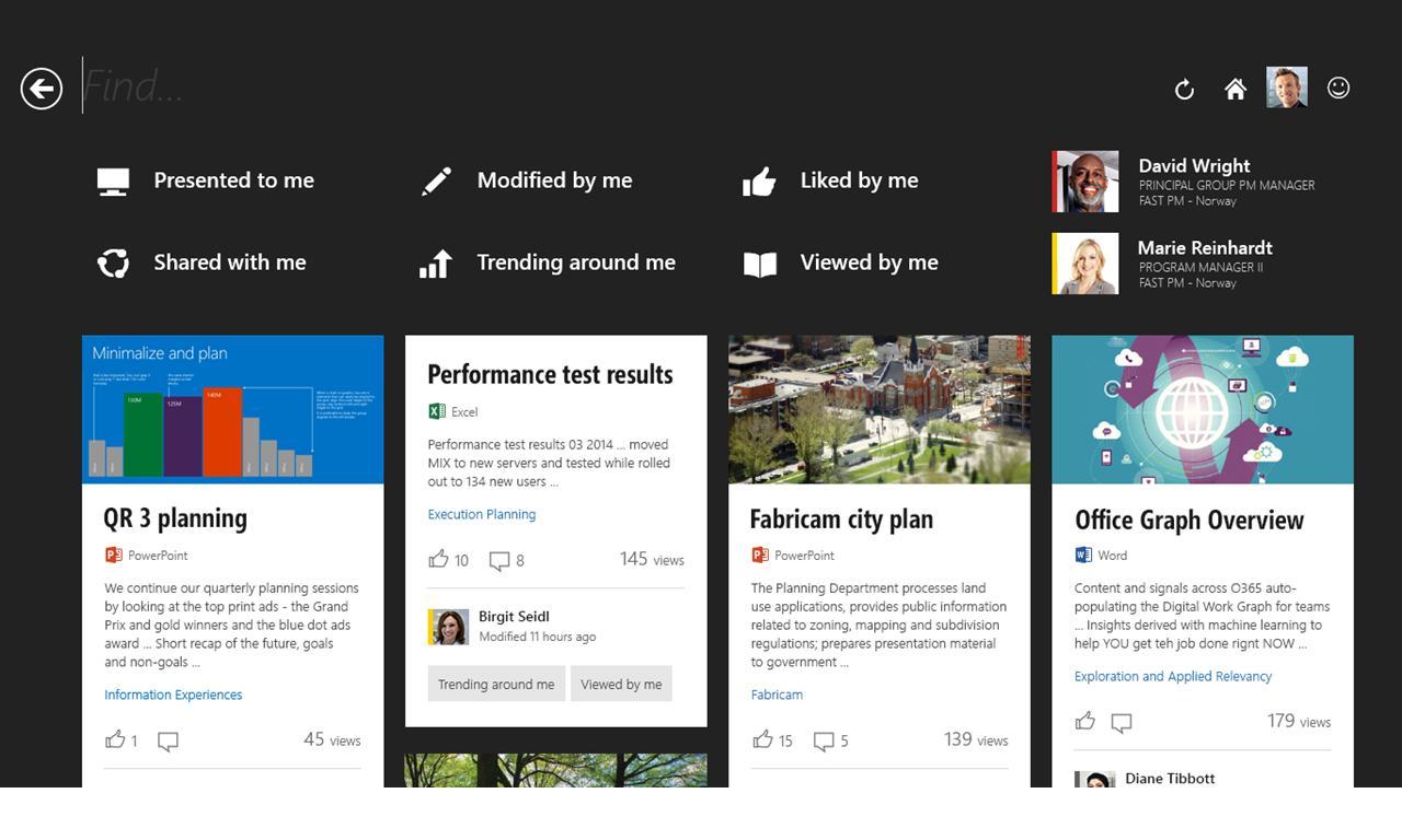 Løsningen kan finne dokumenter eller informasjon basert på hva som er redigert av deg, delt med deg, sett av deg, presentert til deg eller etter hva som er «trending» – for eksempel om det er dokumenter mange av de du jobber sammen med har åpnet mange ganger i det siste.Foto: Microsoft