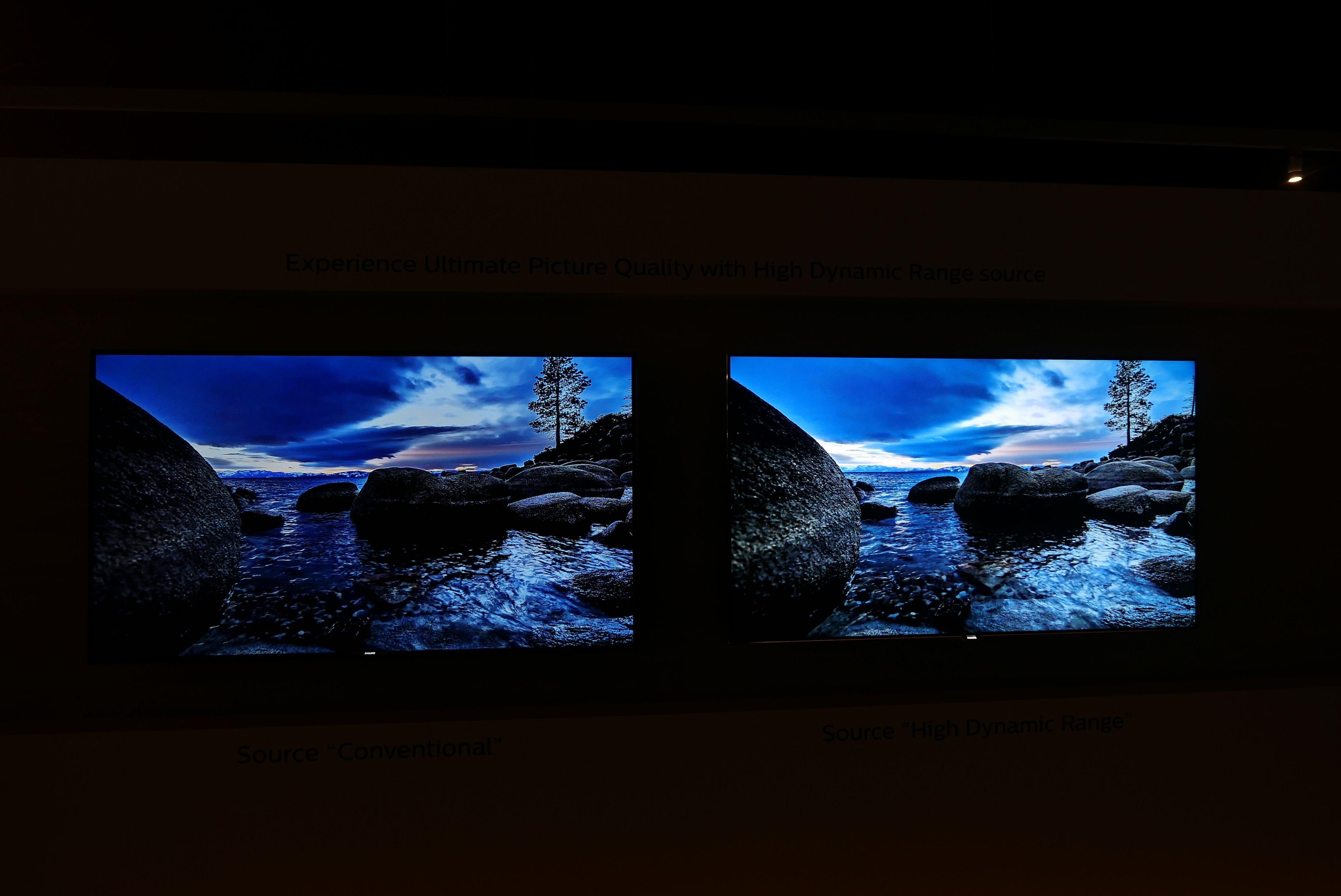 Her et eksempel på hva HDR tilføyer. Skjermen med teknologien er den til høyre. Foto: Ole Henrik Johansen / Tek.no