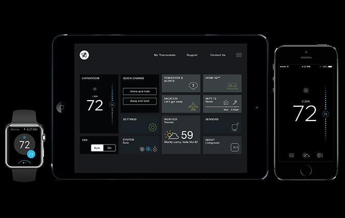 Ecobee3 kan styres med både iPhone, iPad og Apple Watch via en egen applikasjon. Foto: Ecobee