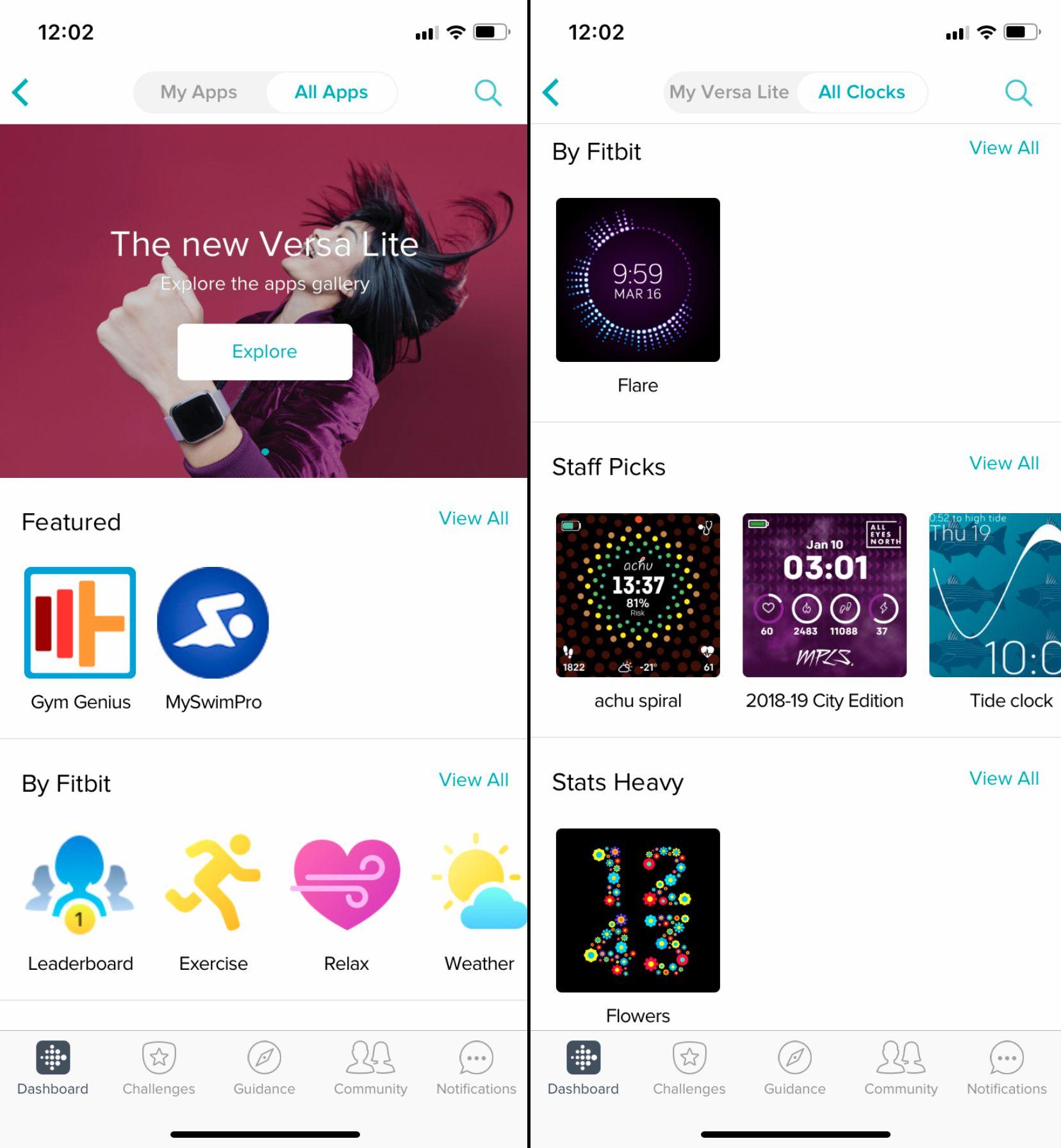 I Fitbit-appen kan du velge blant en rekke urskiver, i tillegg til å installere en rekke mer eller mindre nyttige apper.