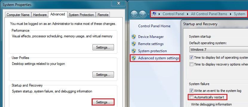 Slik går du frem for å deaktivere automatisk omstart ved systemfeil. Klikk for større bilde.