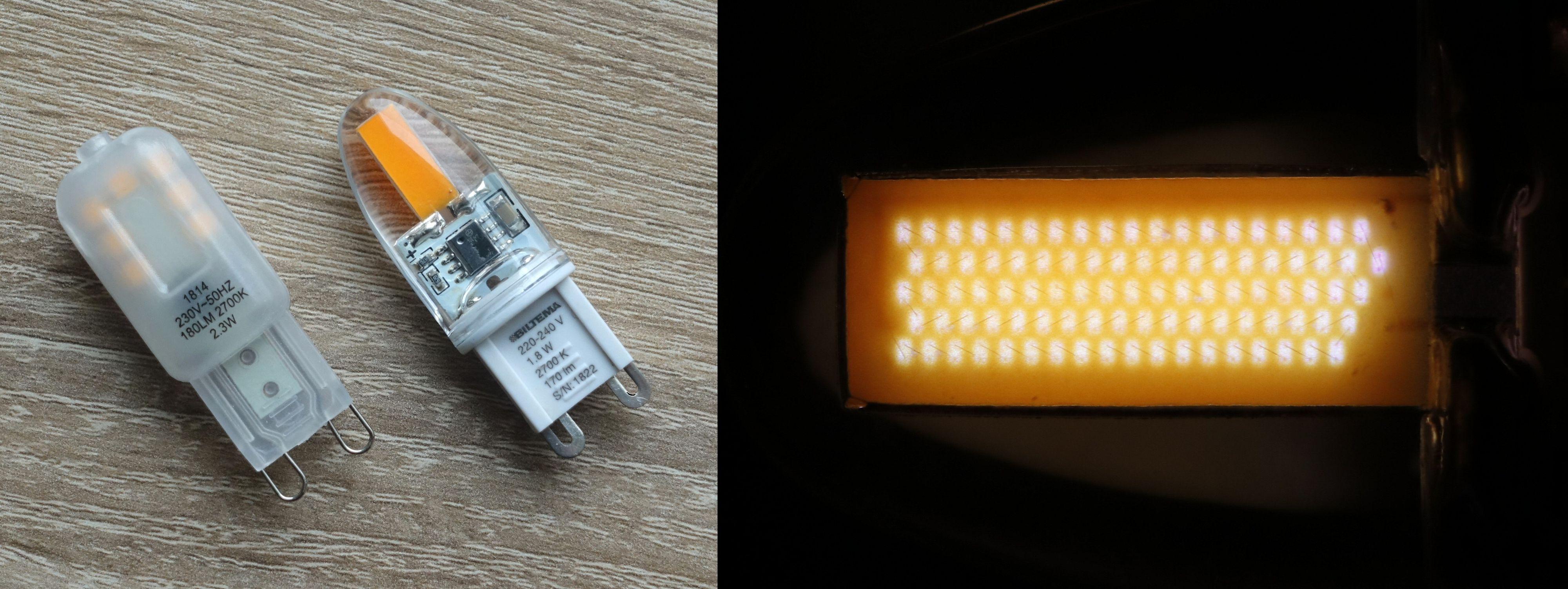 For G9-pæren med SMD-teknologi til venstre kan vi enkelt telle 7 LED-brikker under plastskallet. For pæren til høyre ser det først ut som den bare har et stort «LED-felt», men dette er faktisk en lang serie med små dioder lagd med COG-teknologi. I makrobildet til høyre kan vi både telle dem og se at de har forbindelse med hverandre.