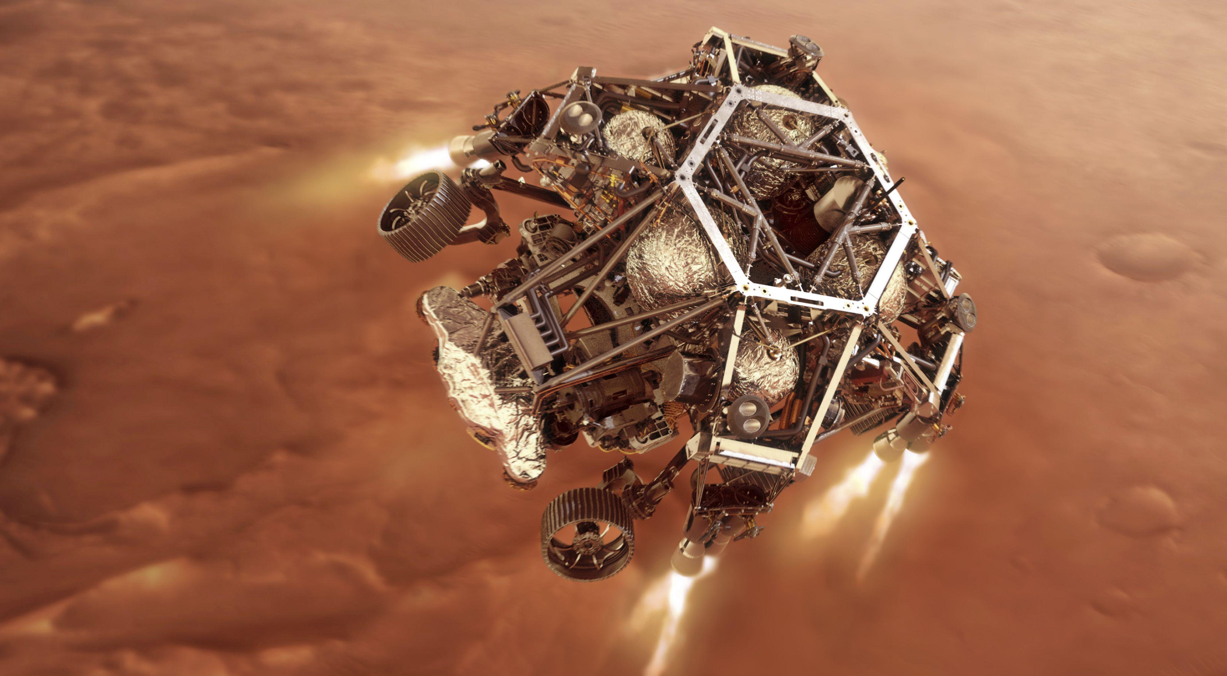 En digital illustrasjon fra Nasa viser hvordan Perseverance-landingsfartøyet antenner motorene idet den nærmer seg Mars' overflate. Først ti minutter etter den planlagte landingen, får vi vite om nedstigningsfasen var vellykket.