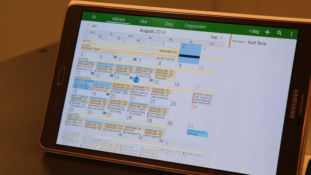 Kalenderen gir god oversikt, men mangler ukenumre.Foto: Espen Irwing Swang, Amobil.no