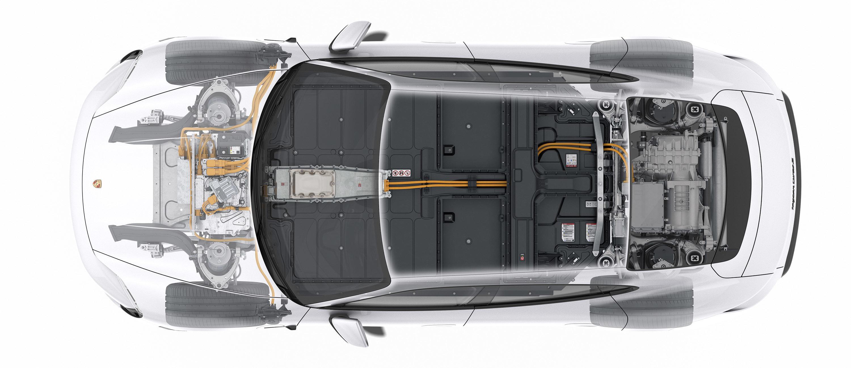 Taycan-batteriet er delt i to, noe som gir plass det Porsche kaller en «fotgarasje» i baksetet. Illustrasjon: Porsche