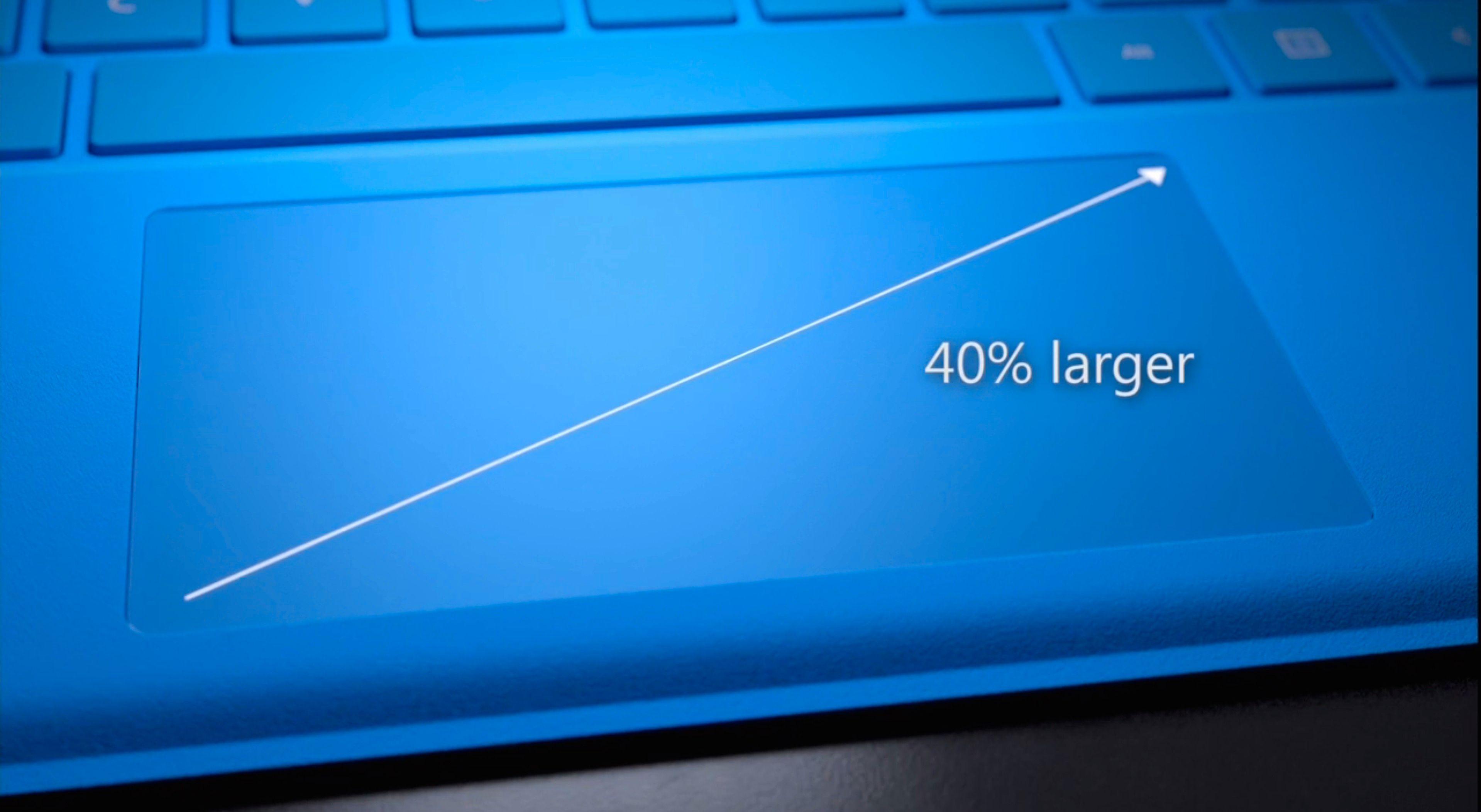 Styreflaten har økt i størrelse med 40 prosent. Foto: Microsoft, skjermdump fra video