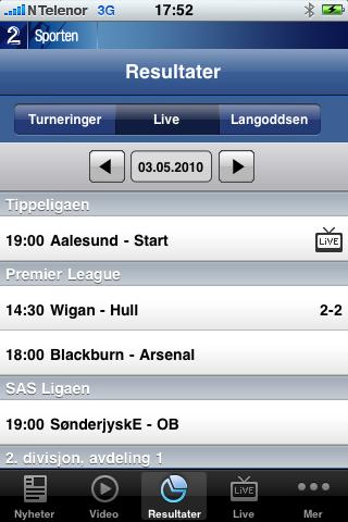 Resultatvisning i TV2s applikasjon.