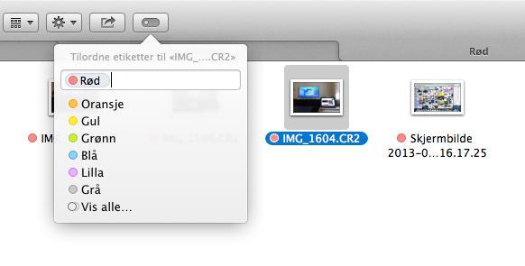Etiketter kan også settes direkte i Finder, via en egen knapp.