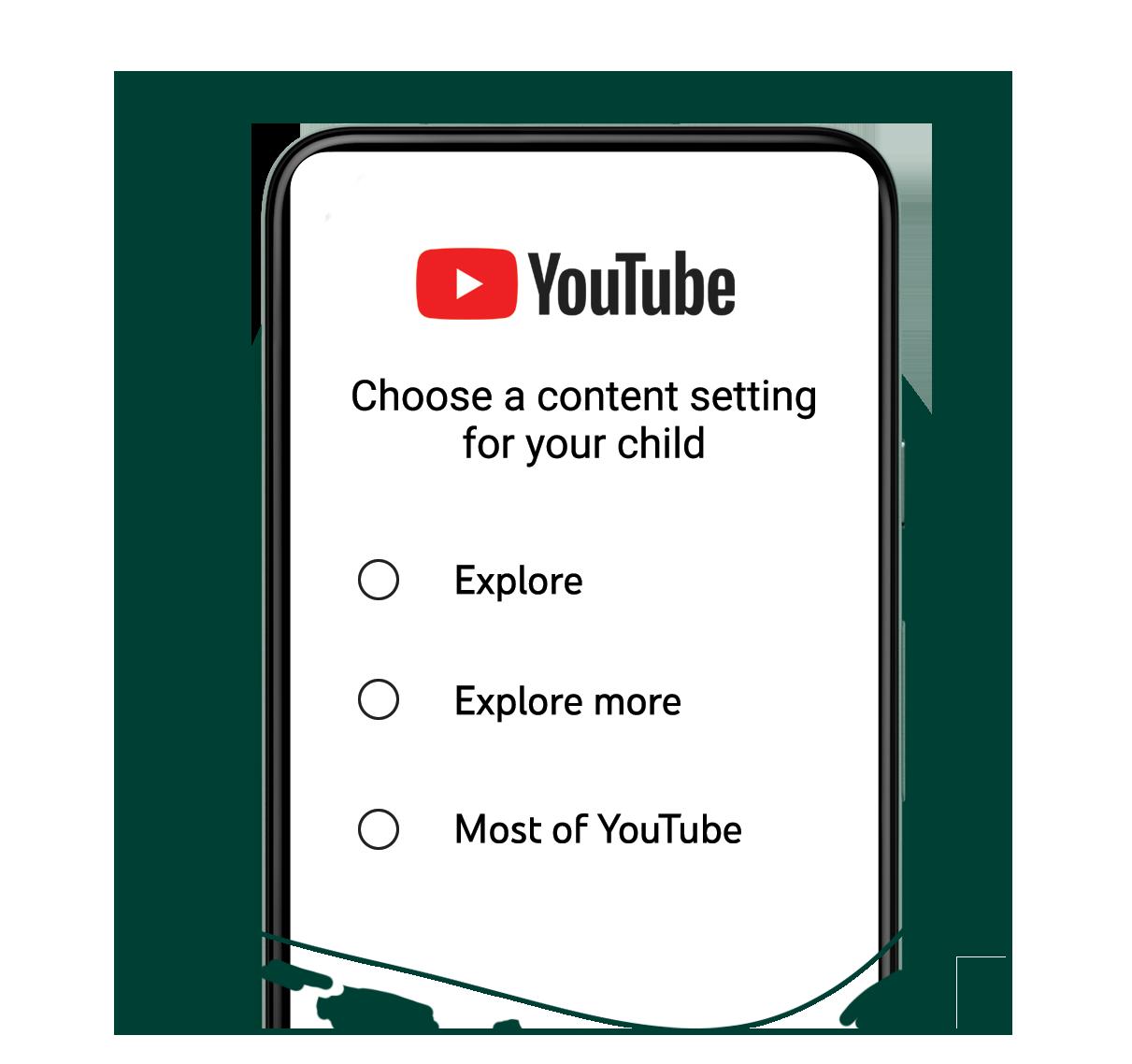 Slik skal de nye valgene se ut for voksne som setter opp YouTube-konto for barn.