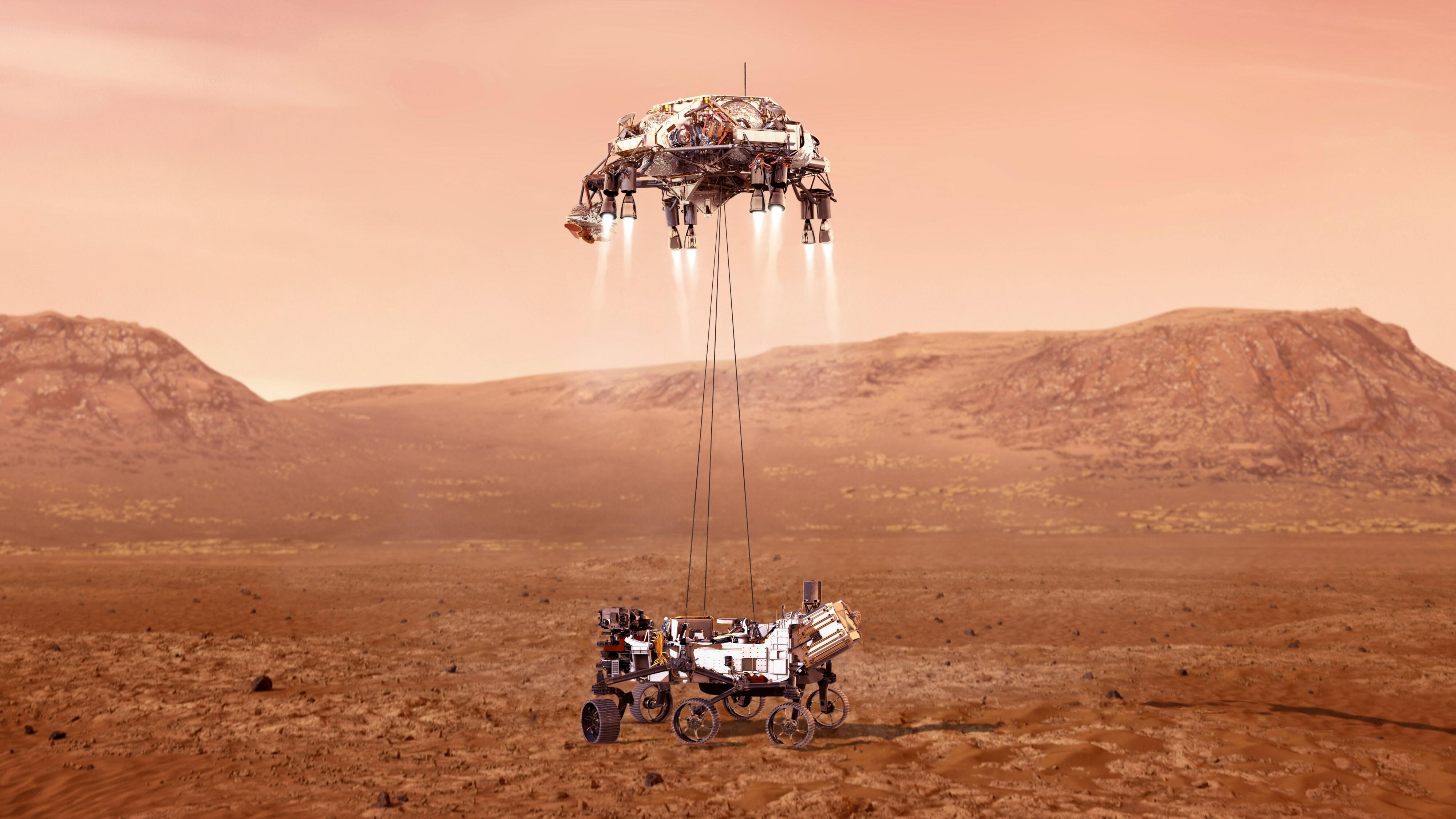 Slik skal helst den ett tonn tunge roveren Perseverance møte bakken på Mars.