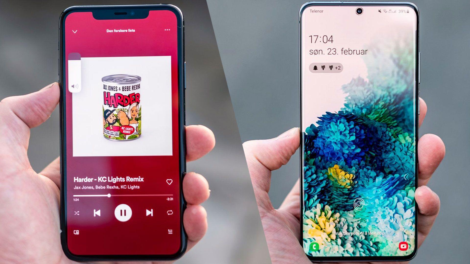 iPhone 11 Pro til venstre, Galaxy S20 Ultra til høyre.