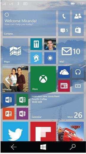Slik ser Windows 10-skjermen ut på Windows Phone.