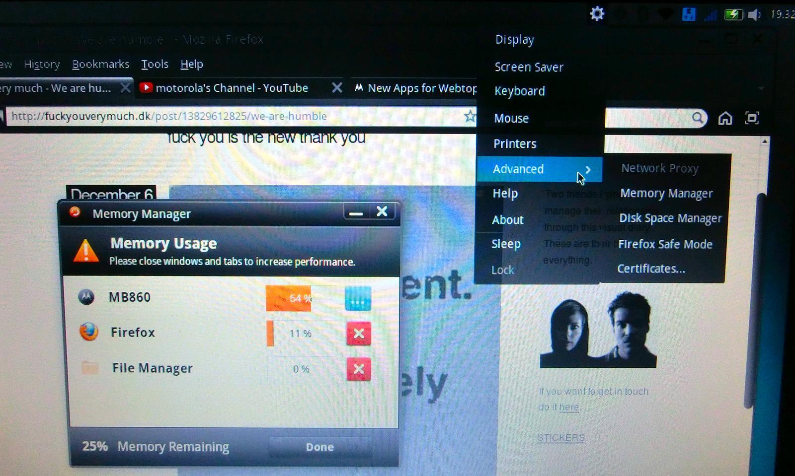 Innstillingene ligger i Webtop-ens eget grensesnitt.