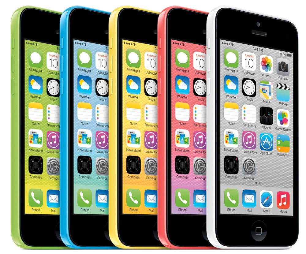 iPhone 5C fås i fem ulike farger. Foto: Apple