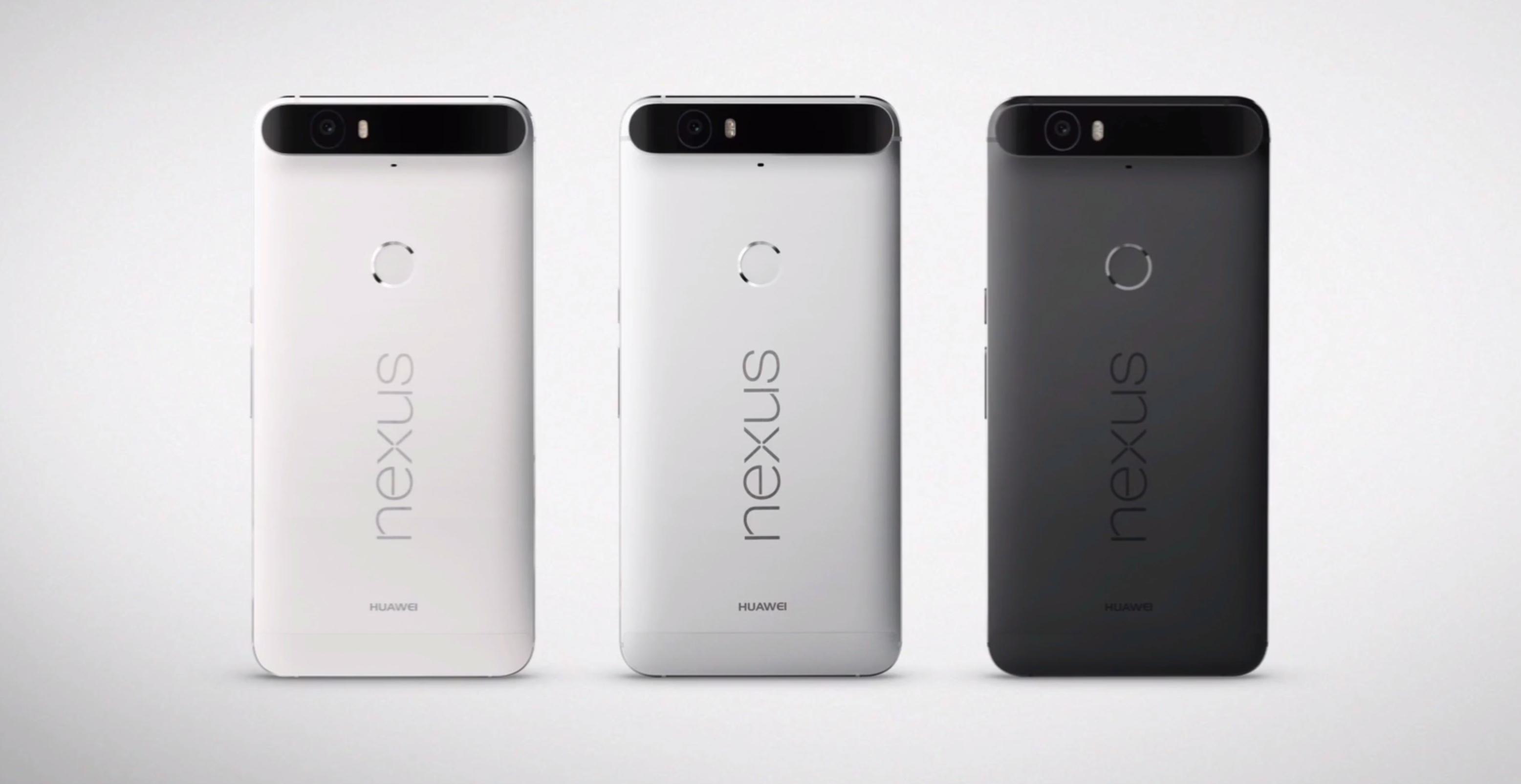 Nexus 6P kommer i tre forskjellige farger. Foto: Skjermdump/Google