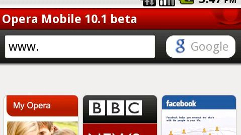 Opera Mobile 10.1 beta for Android