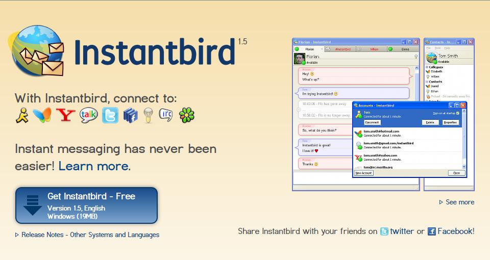 Tor Messenger er basert på det eksisterende Instantbird-programmet. Foto: Skjermdump/Instantbird.com