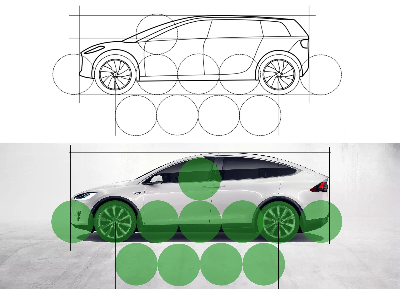 En akselavstand på godt over tre meter er betydelig mer enn hva selv de største elbilene har i dag. Her har vi laget en sammenligning mot Tesla Model X. For enkelhetens skyld gjorde vi hjulene like store, men i praksis vil Dysons hjul – hvis de skulle være utformet ifølge patentet – være en del større. Montasje: Dyson/Tesla/Tek.no