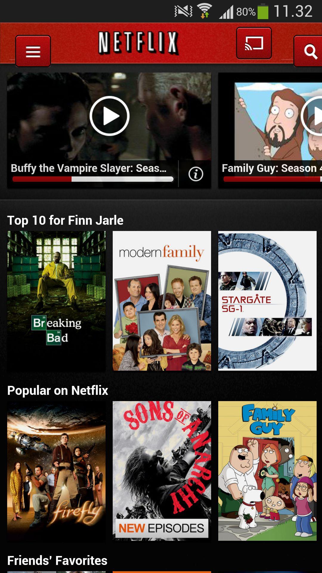 Ikonet øverst til høyre lar deg vise Netflix-innhold på Chromecast.
