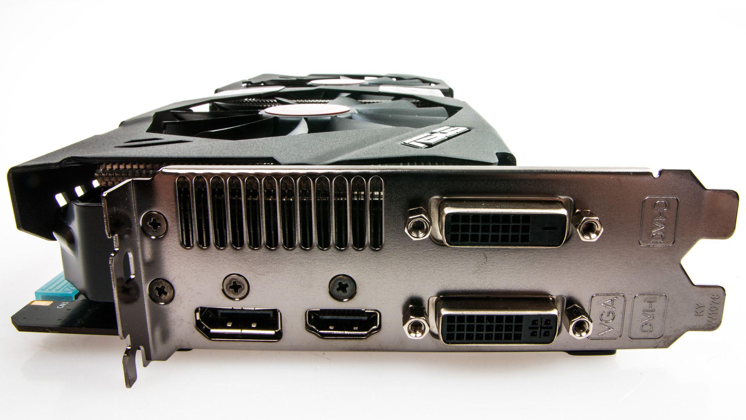 Asus GeForce GTX 780 Strix OC byr på to DVI-utganger, samt DisplayPort og HDMI.Foto: Varg Aamo, Hardware.no