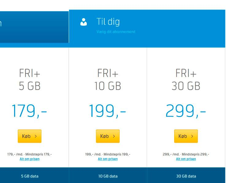 Mer data, halv pris. Slik ser det ut hos Telenor i Danmark.