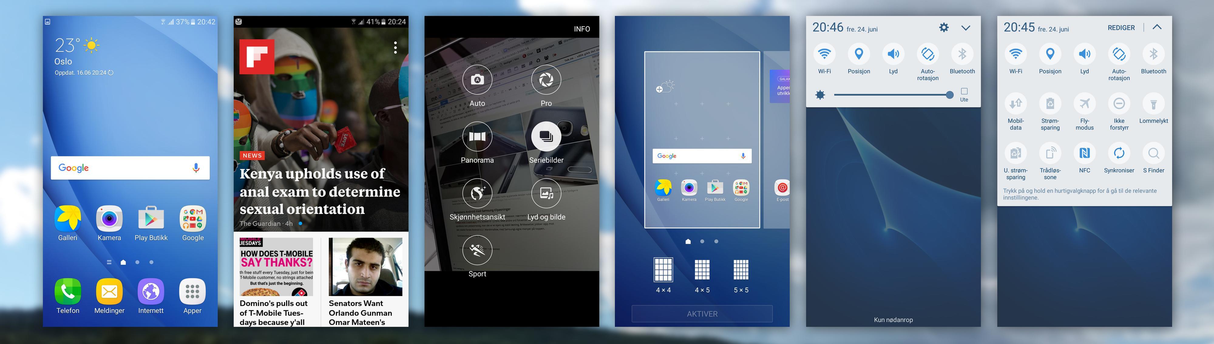 J5-menyene er i god, gammeldags Samsung-stil. Flipboard-menyen helt til venstre i hjemskjermene kan skrus av og på.