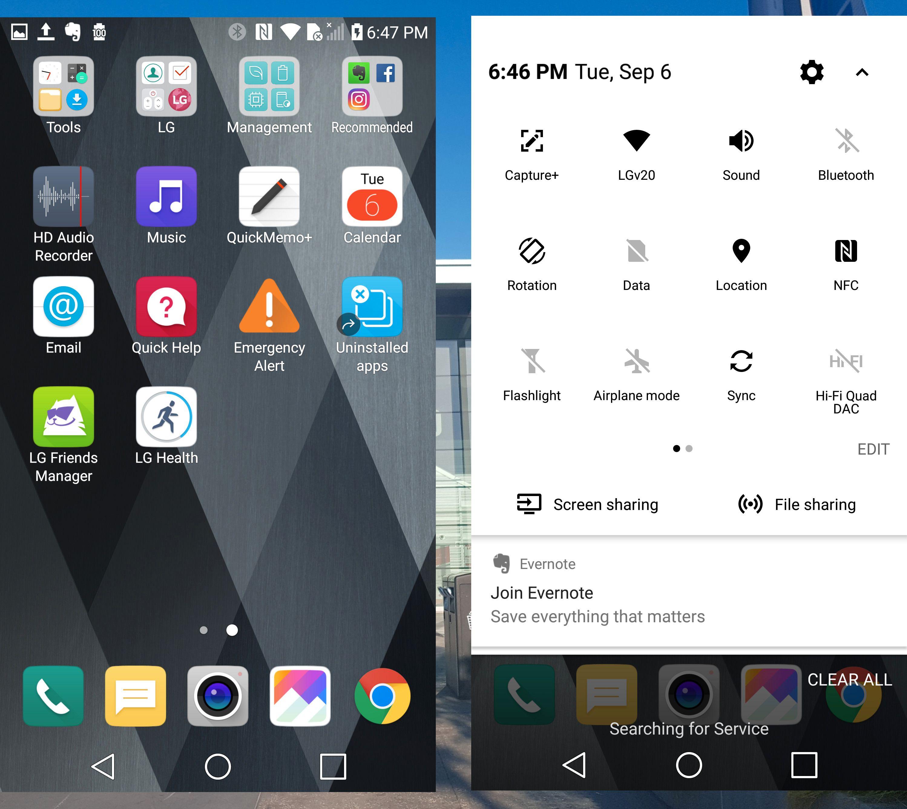 LG V20 er først ut med Android 7, og eksemplaret vi tittet på hadde ikke appmenyer bak hjemmeskjermene. G5 fikk dette som en oppdatering kort tid etter lansering. Kan hende finnes det et valg i menyene her også, men det ble det ikke tid til å se etter.