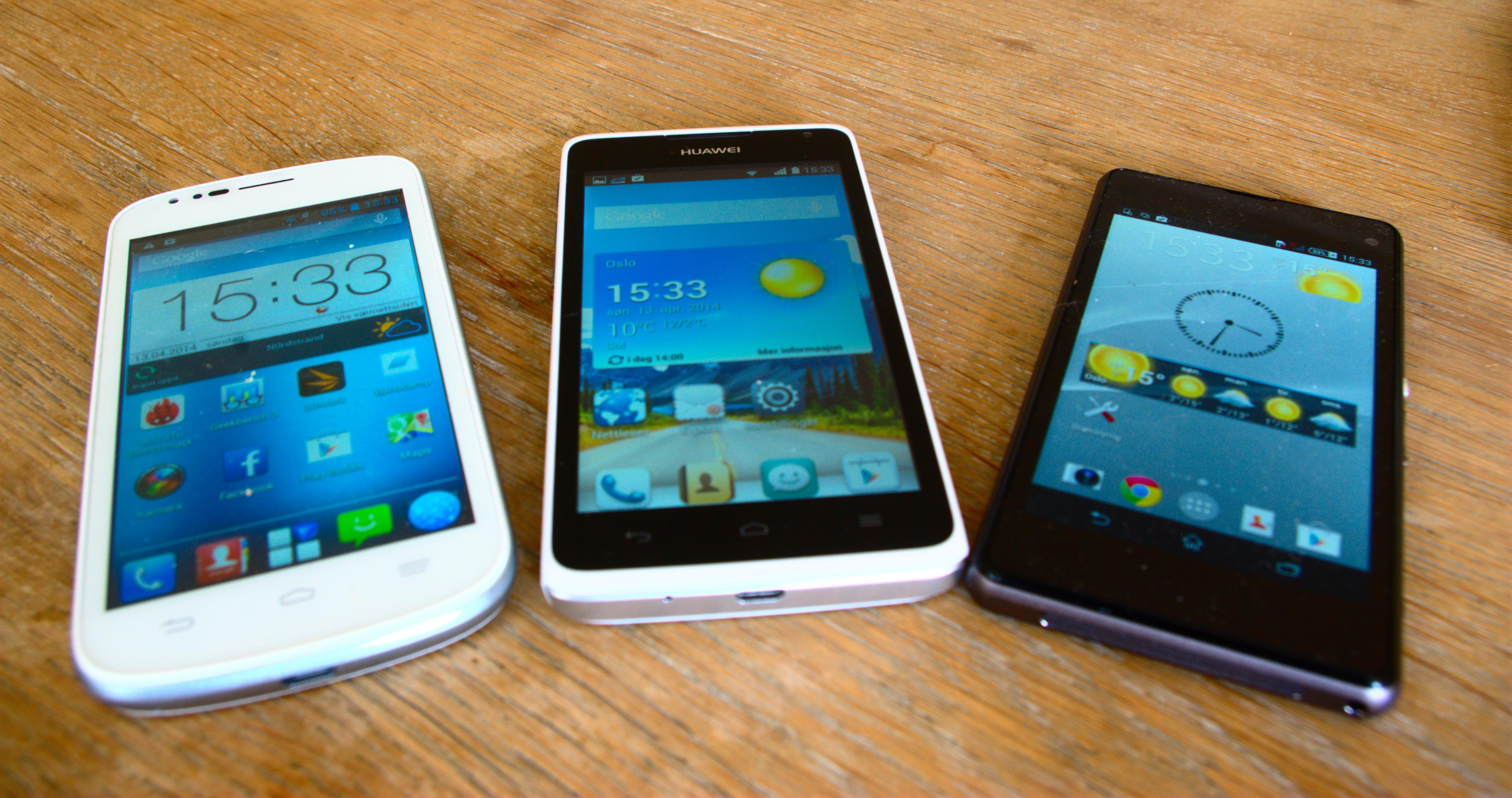 ZTE Blade Q, Huawei Ascend Y530 og Sony Xperia Z1 Compact.Foto: Einar Eriksen