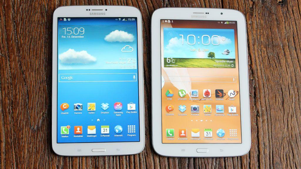 Slik ser to av dagens Galaxy Tab 3-modeller ut.Foto: Espen Irwing Swang, Amobil.no