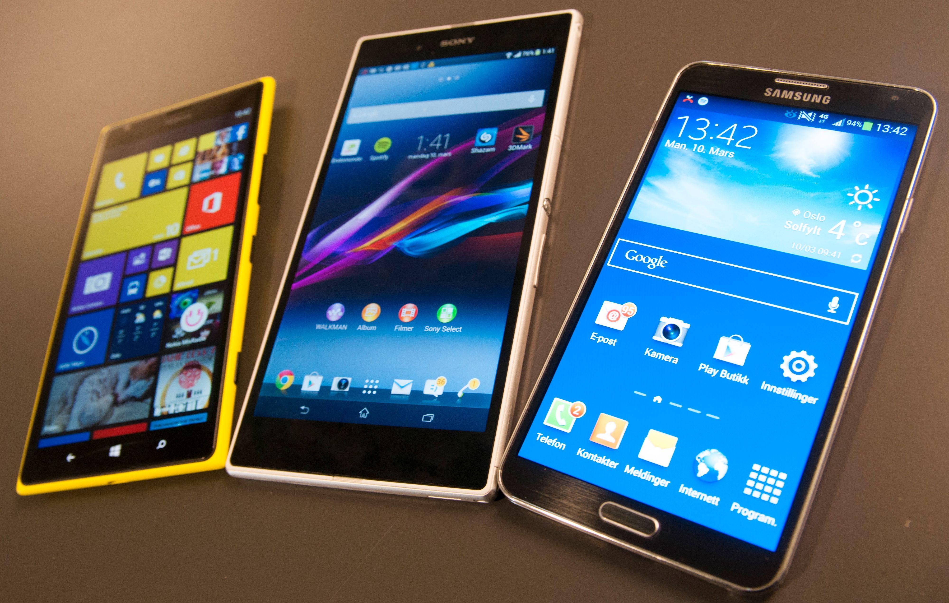 Tre giganter. Fra venstre; Nokia Lumia 1520, Sony Xperia Z og Samsung Galaxy Note III.Foto: Finn Jarle Kvalheim, Amobil.no
