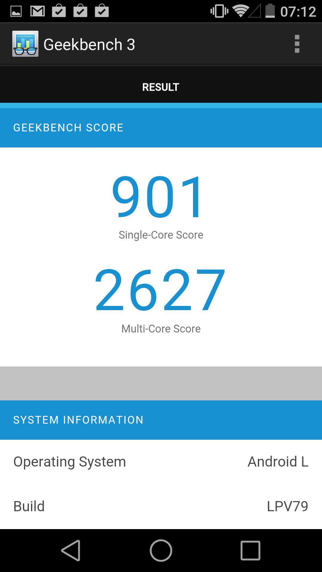 Vi får dårligere resultater i ytelsestester for Nexus 5 med Android L enn med 4.4 KitKat. Geekbench ga opprinnelig 2829 poeng.