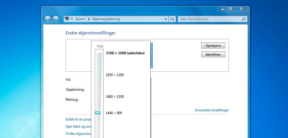Vi kan velge en temmelig ekstrem oppløsning for den 13,3 tommer store skjermen (Skjermdump: Alexander Tøgard).