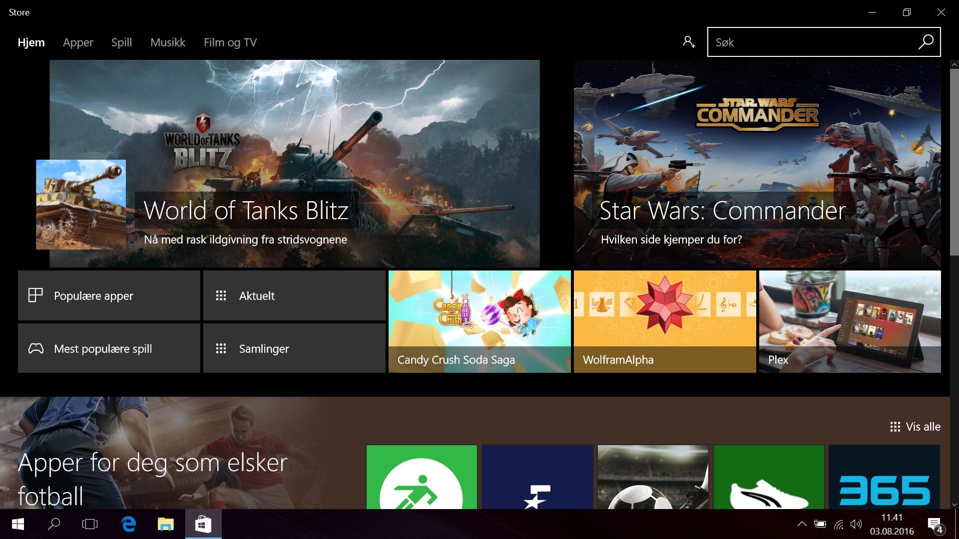 Windows Store har blitt pusset opp litt. Skjermbildet er tatt med Dark Mode-funksjonen aktivert.