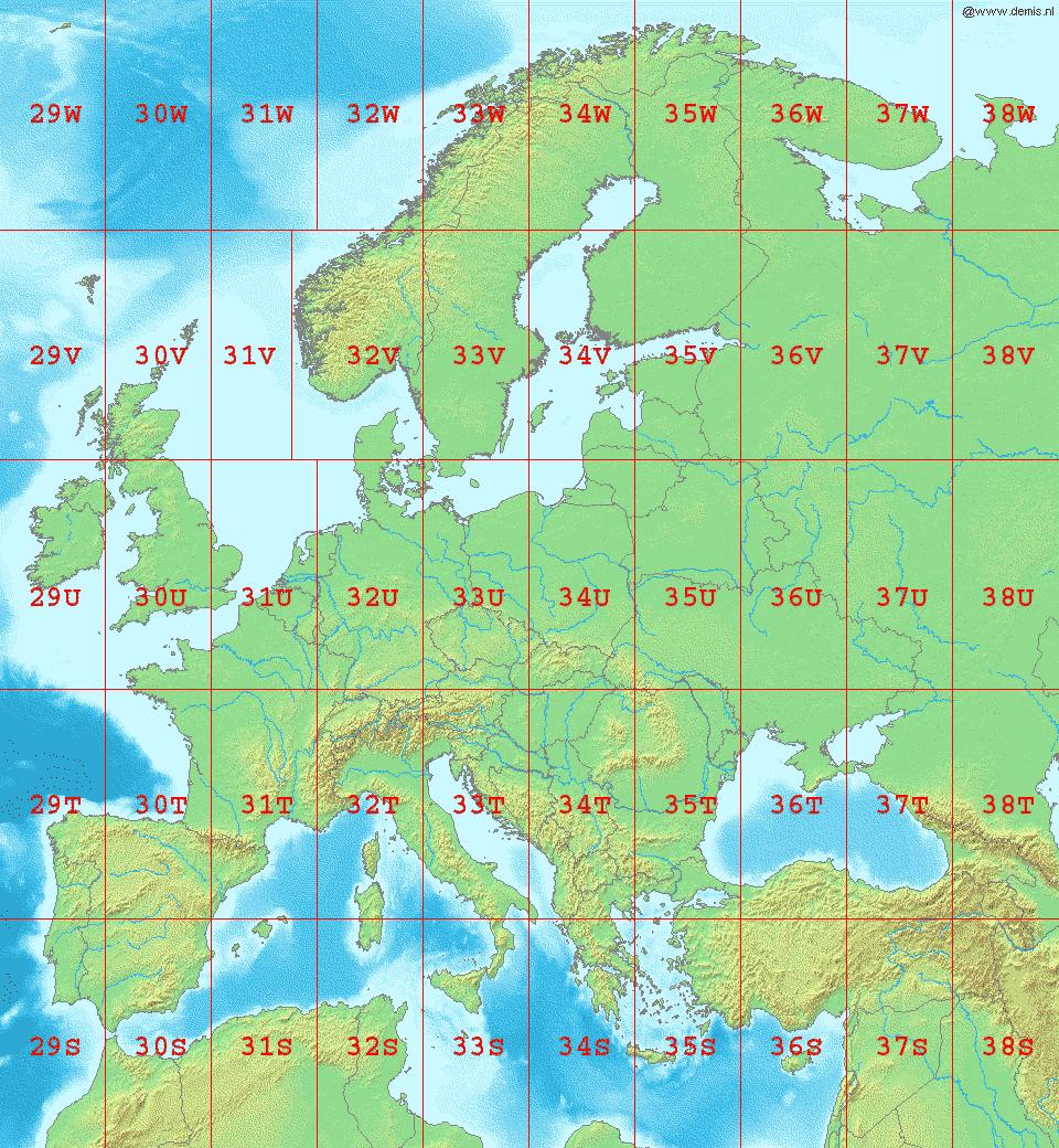 Her ser vi Europas UTM-soner. Velger du gal sone i et GIS-program vil forholdene bli feil (det vil se rart ut). Foto: Wikipedia Commons