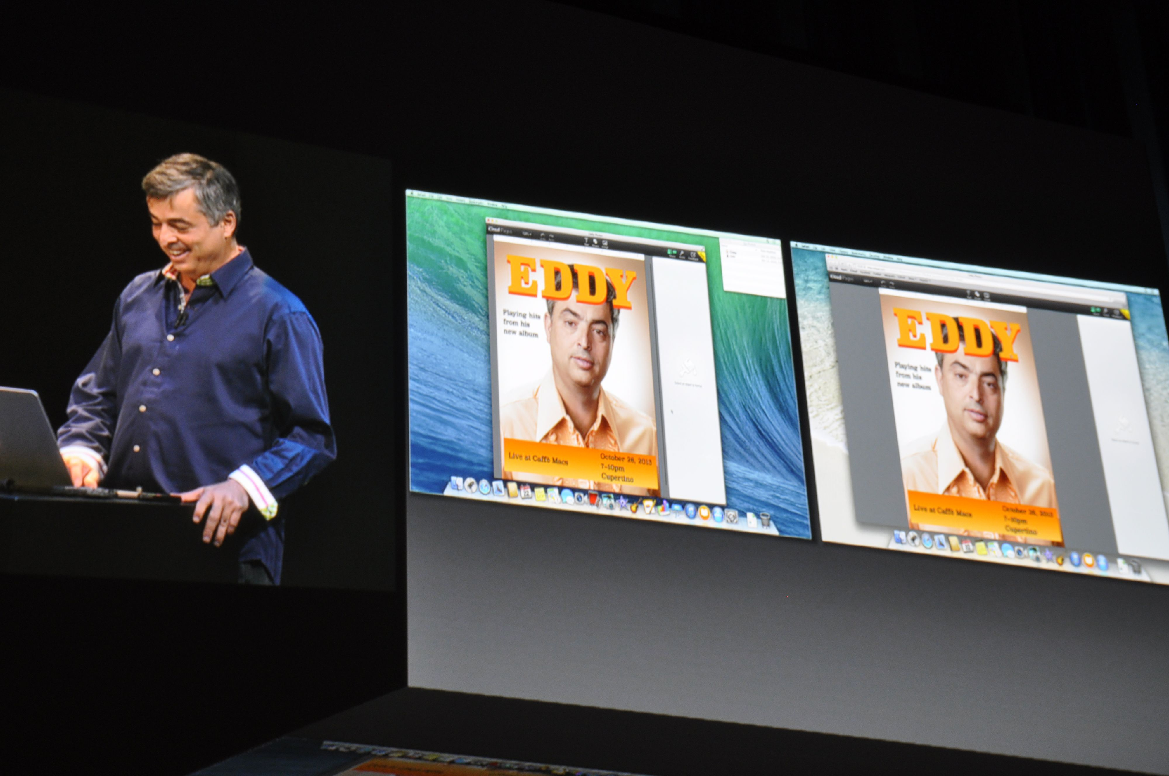 Apple-representantene leker seg med samarbeidsfunksjonene i nye iWork. Foto: Finn Jarle Kvalheim, Amobil.no