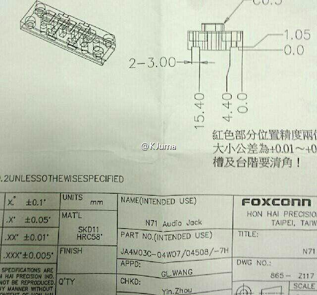 KJuma la også ut spesifikasjonene for hodetelefoninngangen på den kommende iPhone-modellen. Foto: Sina Weibo