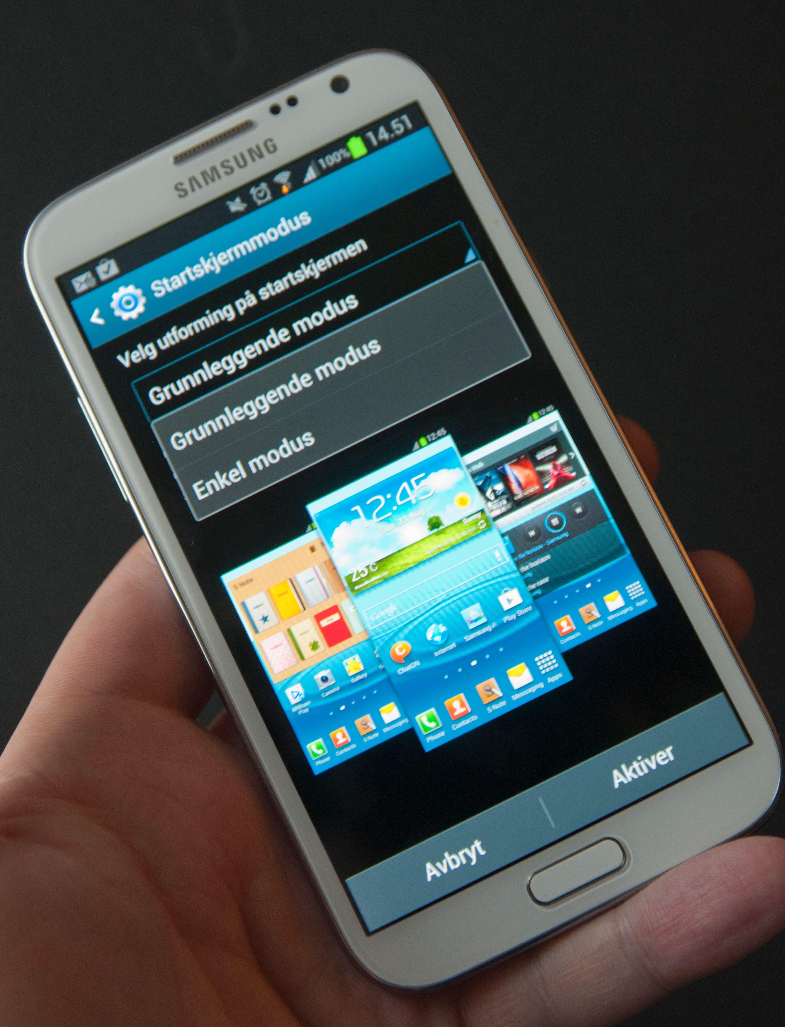 Synes du overgangen til smarttelefon virker komplisert? Da kan du velge en forenklet måte å bruke Galaxy Note II på.Foto: Finn Jarle Kvalheim, Amobil.no