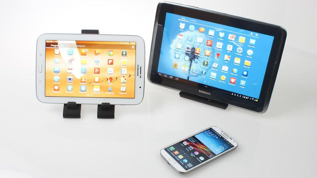 Her er deler av Galaxy-familien samlet. S4, Note 8.0 og Note 10.1.Foto: Espen Irwing Swang, Amobil.no