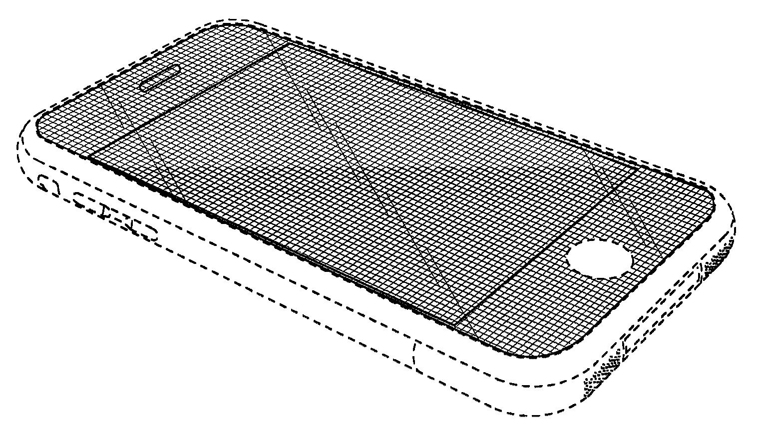 Avrundede hjørner og kant rundt skjermen er blant patentene striden handler om. Illustrasjonsbildet er hentet fra et av de aktuelle patentdokumentene.