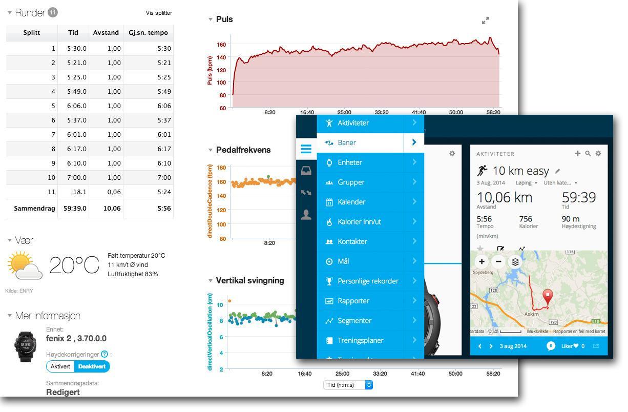 Via nettjenesten Garmin Connect får du detaljert informasjon om treningsøktene dine. Det finnes også apper til Android og iOS.