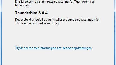 Sikkerhetsoppdatering for Thunderbird