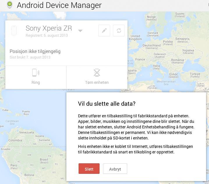 Slik ser web-grensesnittet i Android Device Manager ut.