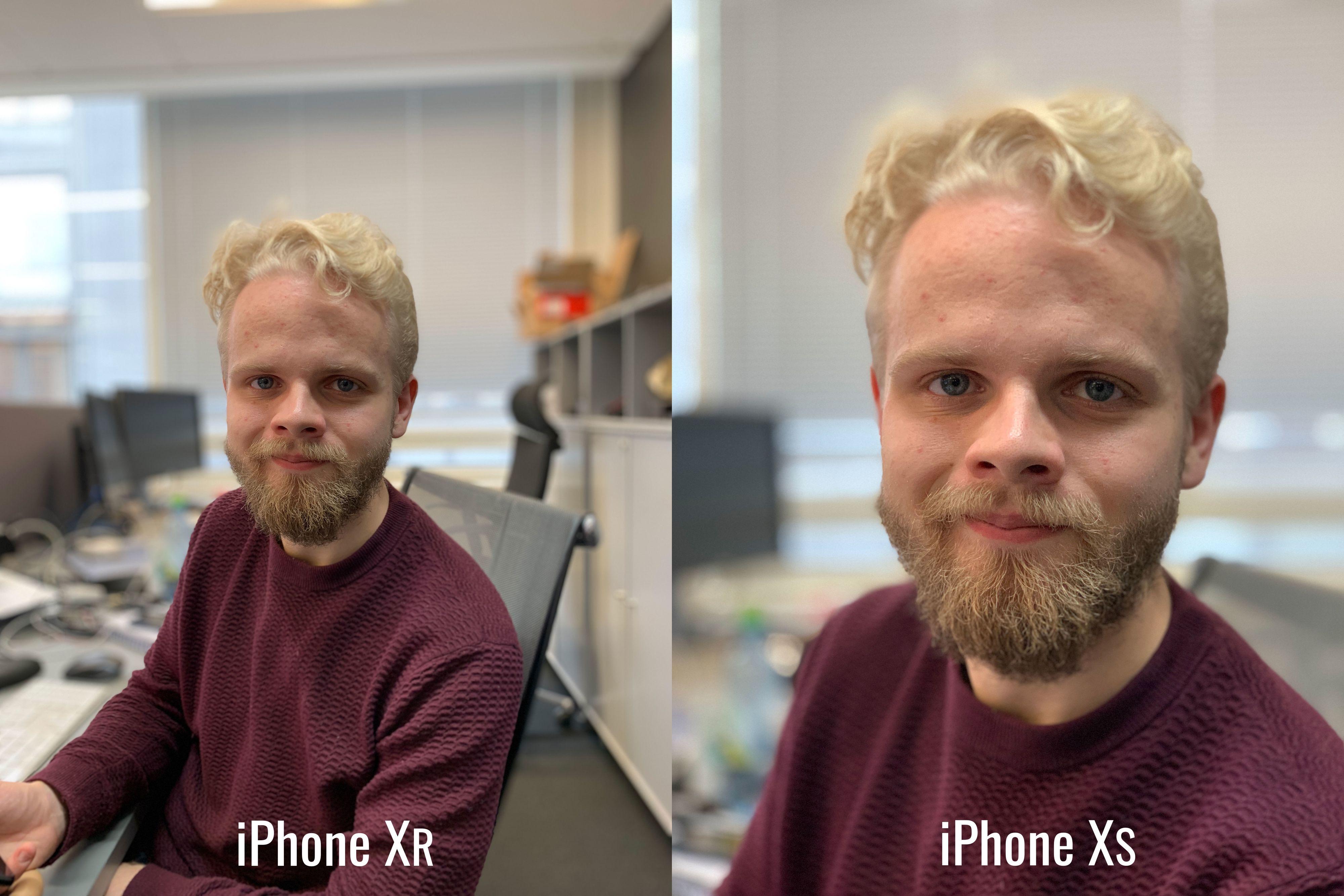 Til tross for at iPhone Xr bare har ett kamera på baksiden, klarer den å separere ansikt godt fra bakgrunnen. Sjekk håret på toppen, så ser det faktisk ut som at Xr gjør enn bedre jobb enn iPhone Xs.