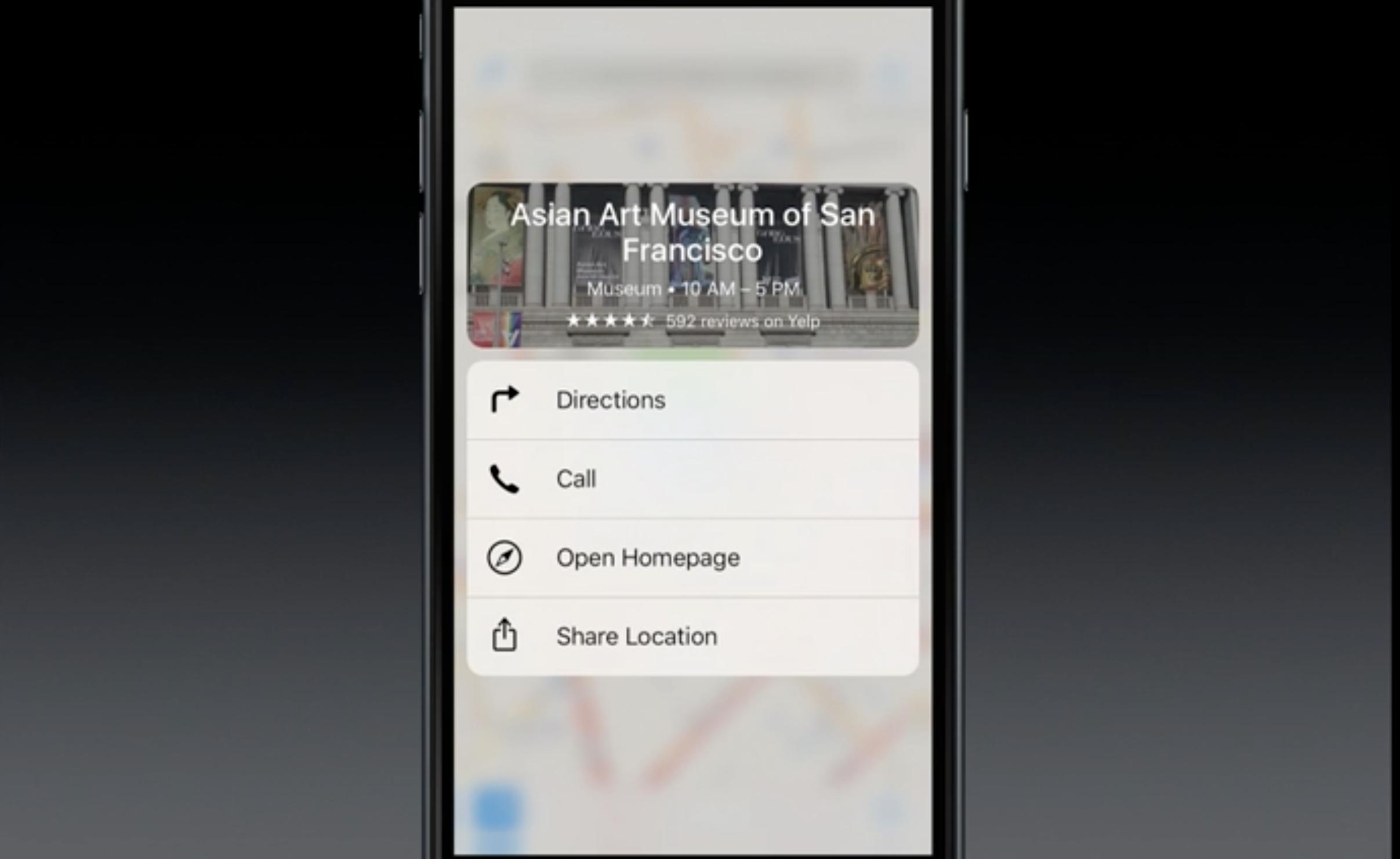 Trykker man lenge på et sted i Apples kart-app, får man opp informasjon om stedet.