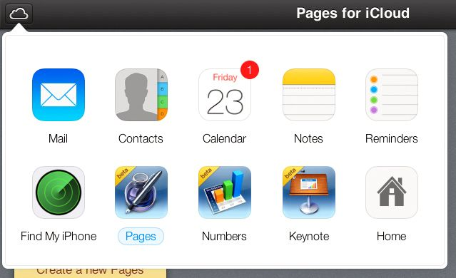 Du når de andre iCloud-applikasjonene direkte fra sky-knappen i øverste venstre hjørne.