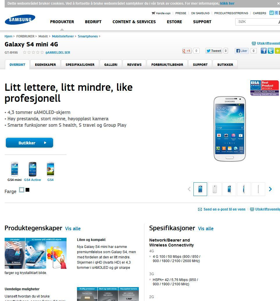 Slik markedsføres Galaxy S4 Mini av Samsung. Vi merker oss at vårt testprodukt ikke leveres med S-Health.Foto: Skjermdump, Samsung.com/no