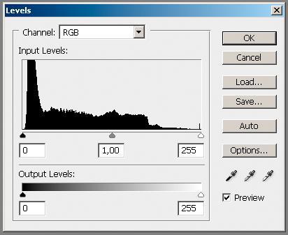 Histogrammet for bildet over. Vi ser en sammenhengende kurve fra punktet for svart til punktet for hvitt. Det er ingen gap i kurven, til tross for at bildet er blitt redigert en del. En slik kurve kan tas som en indikasjon på en sunn datatilstand.
