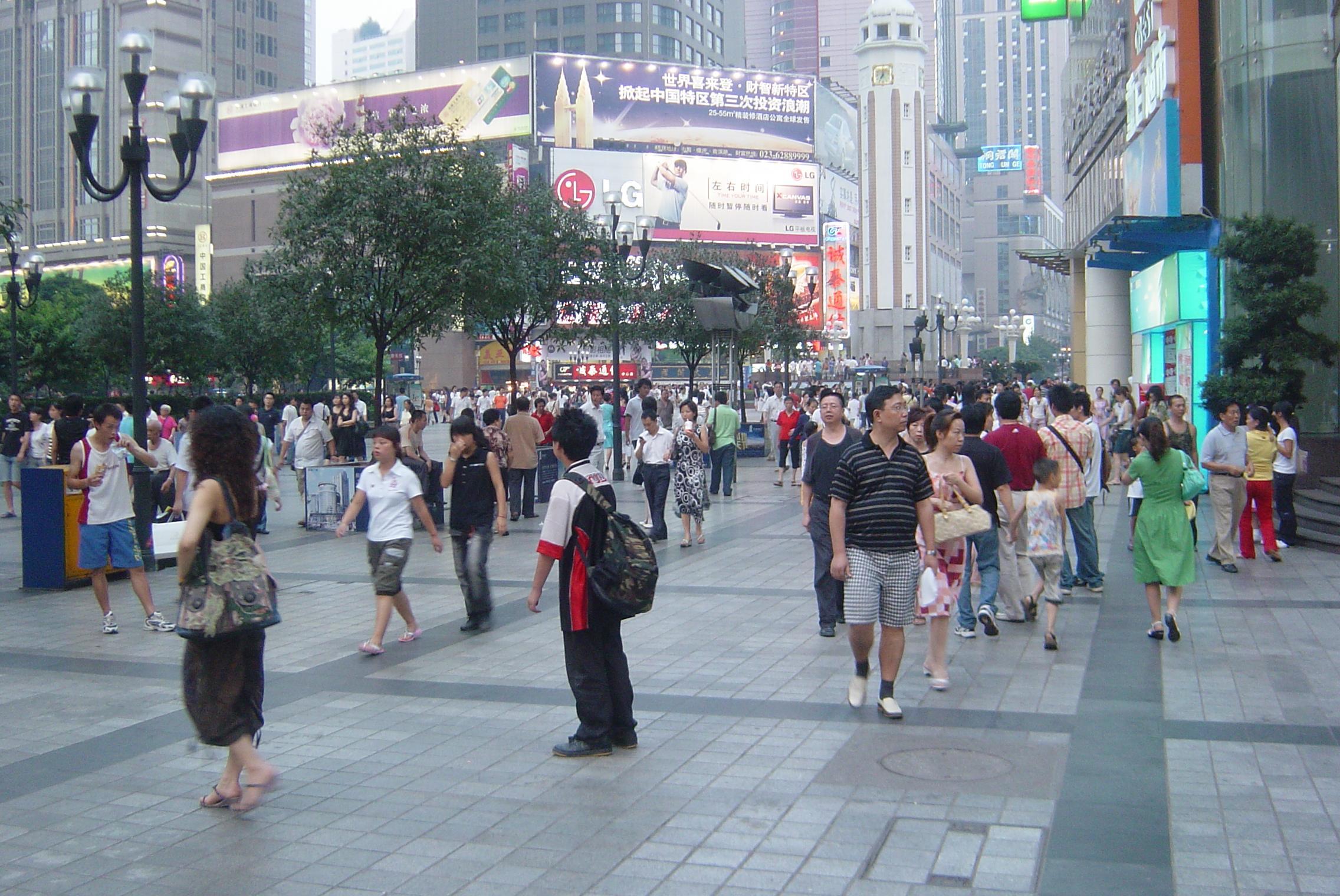 Kina står bak mest ondartet trafikk på nett. Her er et bilde fra millionbyen Chongqing.Foto: Chen Hualin / Wikimedia Commons
