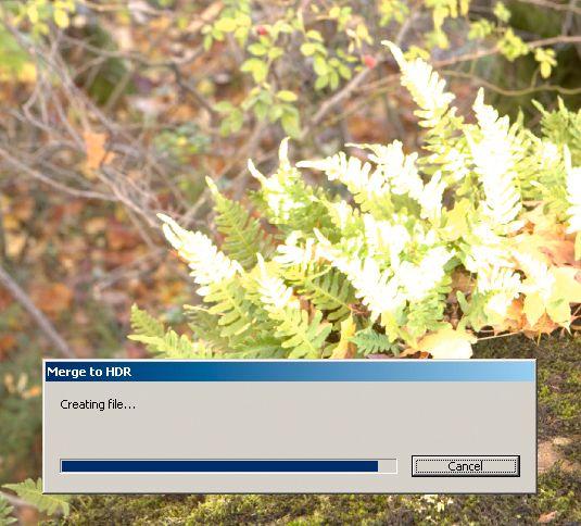 Når man klikker OK, genereres den endelige HDR-fila, som så kan lagres i Photoshop-format (*.psd).