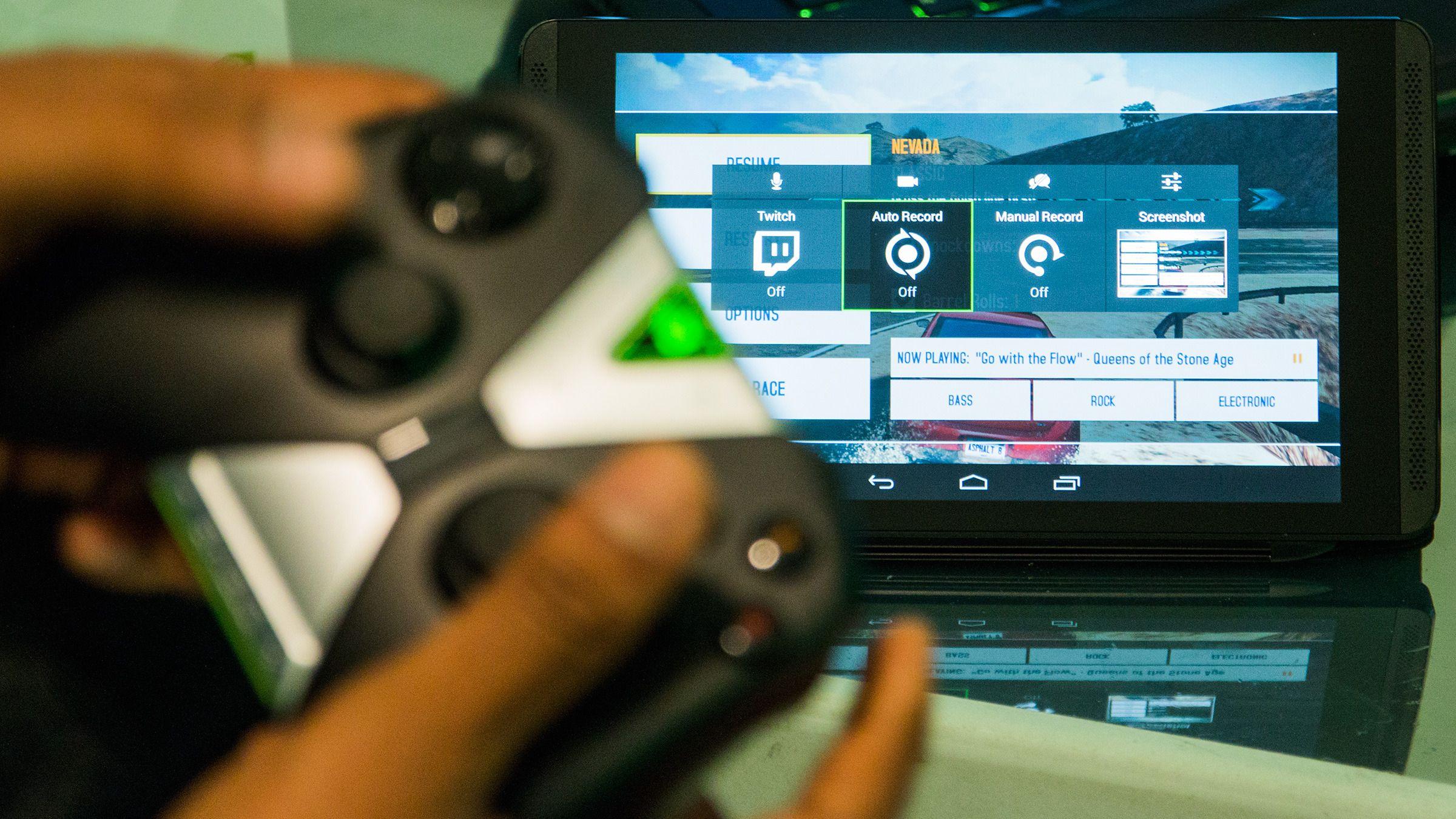 Nvidia Shield Tablet kan både strømme direkte til Twitch og ta opp spilløkter med den samme Shadowplay-funksjonen vi kjenner fra PC.Foto: Varg Aamo, Hardware.no